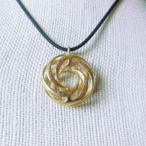 New pendant in 3D printed steel and earrings in gold plate