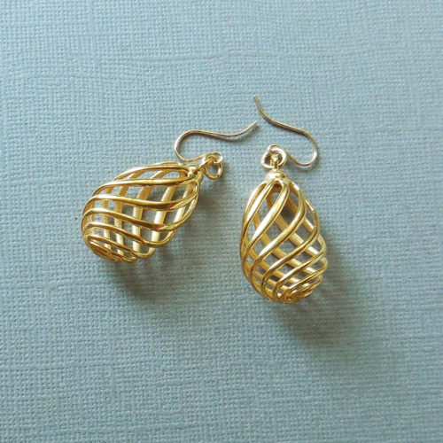 New 3d Printed Earrings in Gold Plated Brass